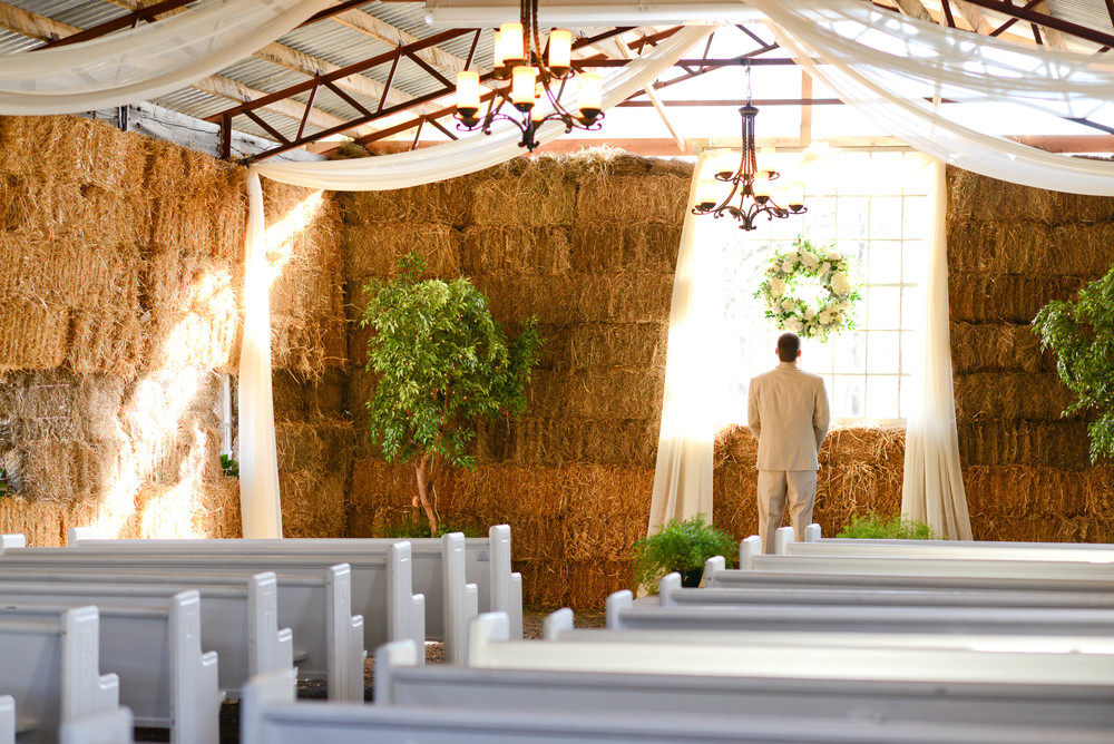 PEWS for barn wedding