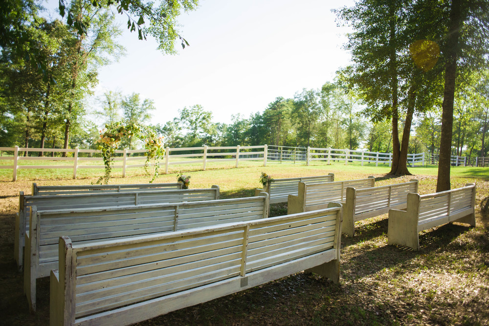 PEWS for Alabama barn wedding