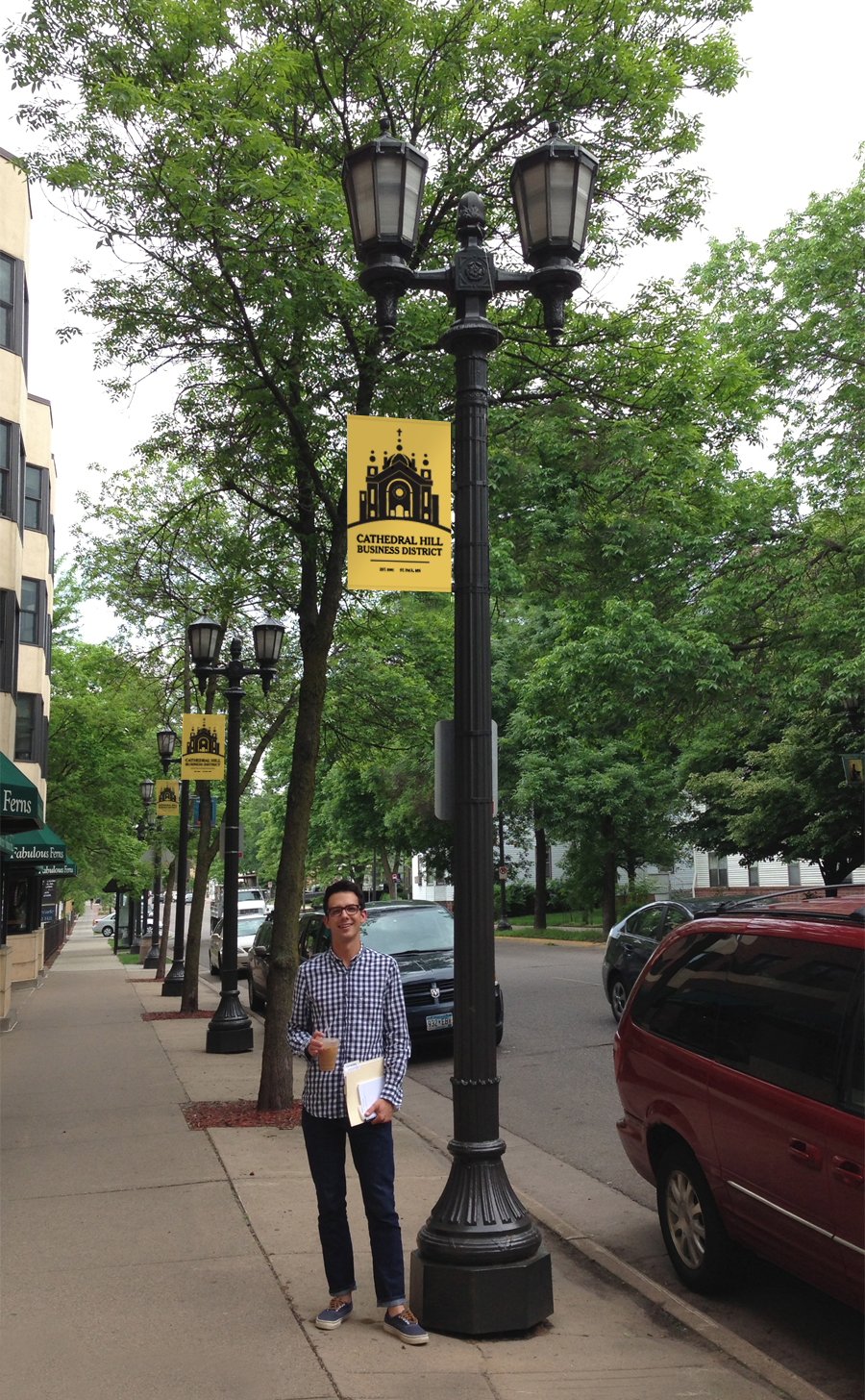 Proposed lamp post signage. Dashing model: Jordan Obinger