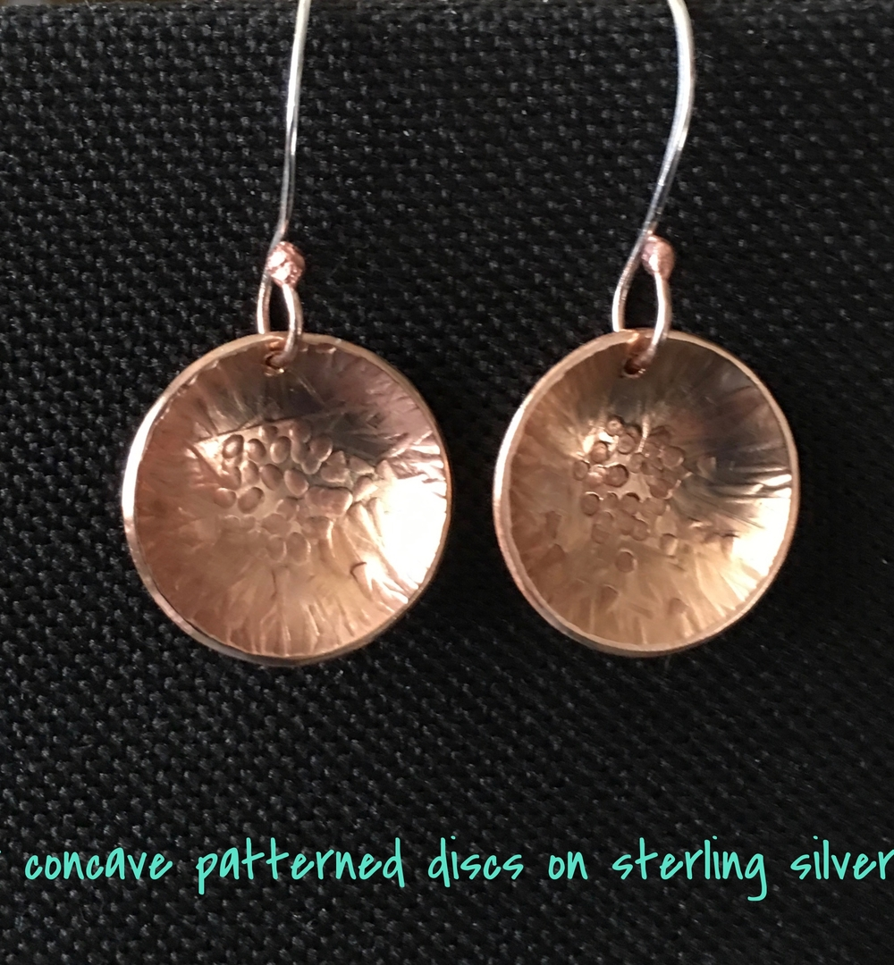 hammer textured and dapped copper disc on sterling earwires