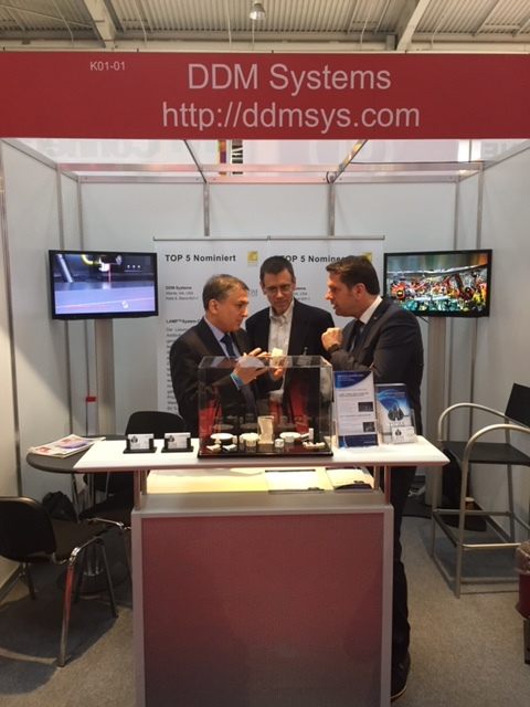 Olaf Lies, Minister for Economics, Labour and Transport for the German State of Niedersachsen (Lower Saxony) Congratulated DDM Systems' with a Booth Visit at the 2016 Hannover Messe on April 26