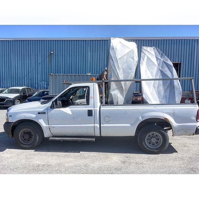 Our beautiful white pickup... and some other things #stainlesssteel #customfabrication #publicart @marman_borins @jamesmsk