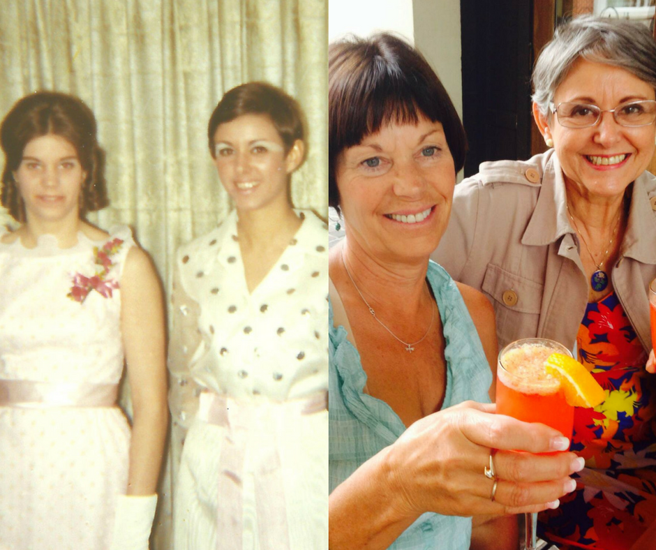 Jane e Geni, em 1970 e em 2014. (Arquivo Pessoal)