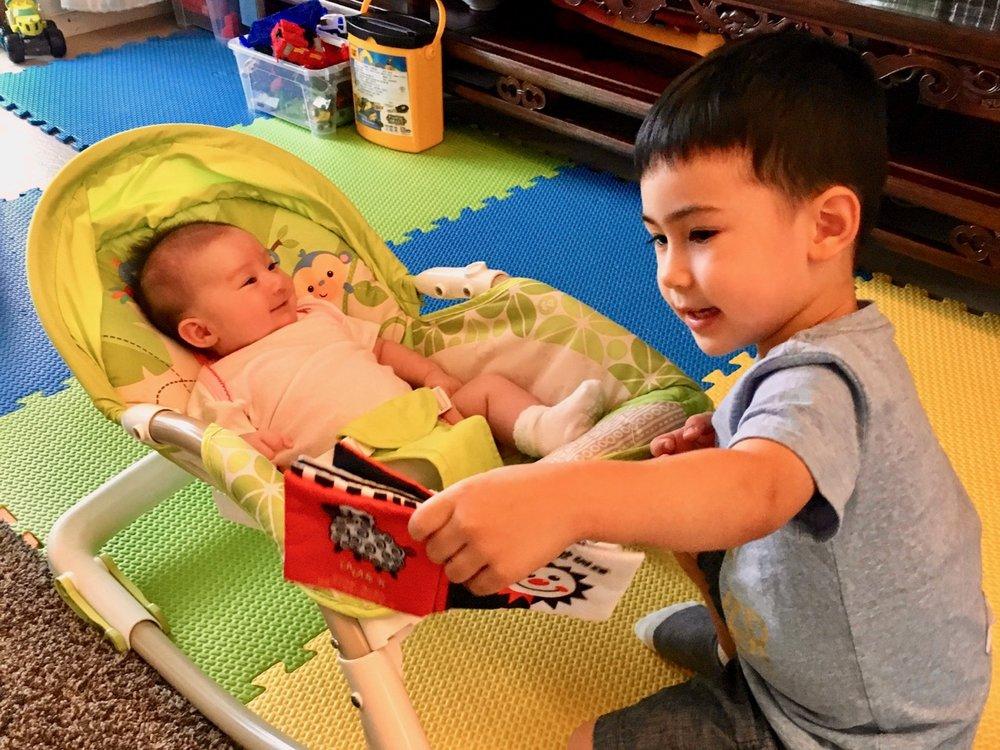 John 'reading' to Sophie