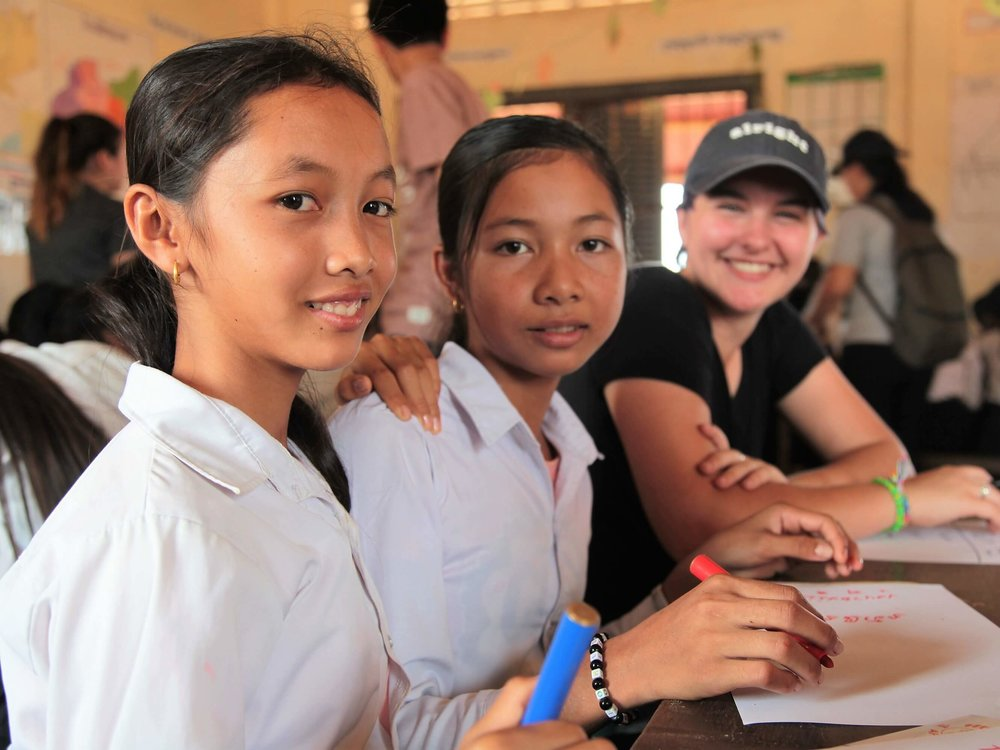 With kids at school in Kampong Thom