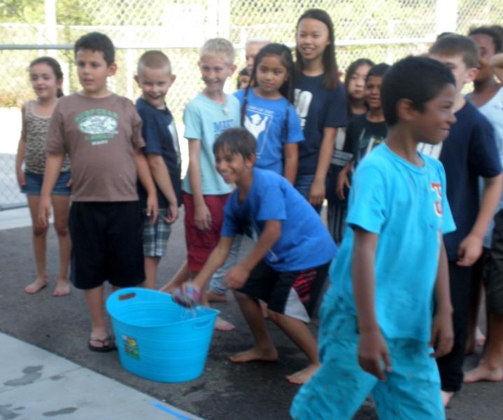 Kids line up to soak 5th graders June 2015.jpg