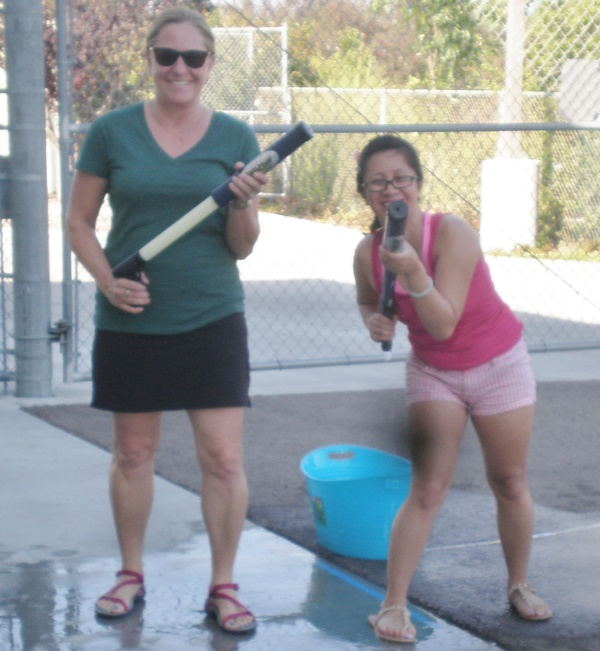 Valerie and Charmaine with water games June 2015.jpg