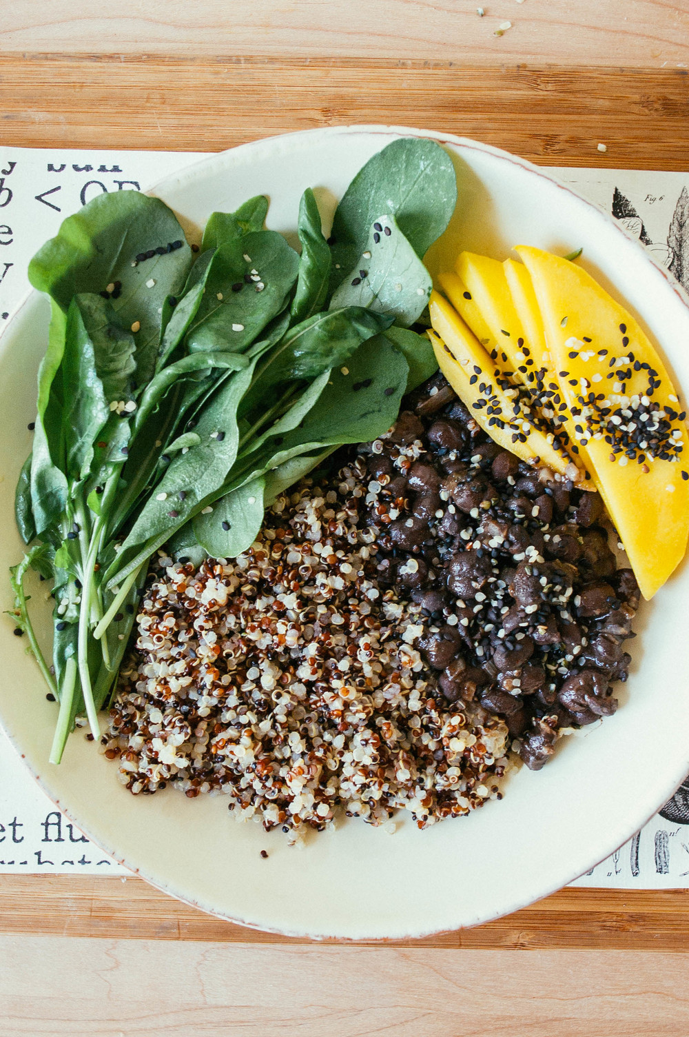 black bean + rocket greens salad