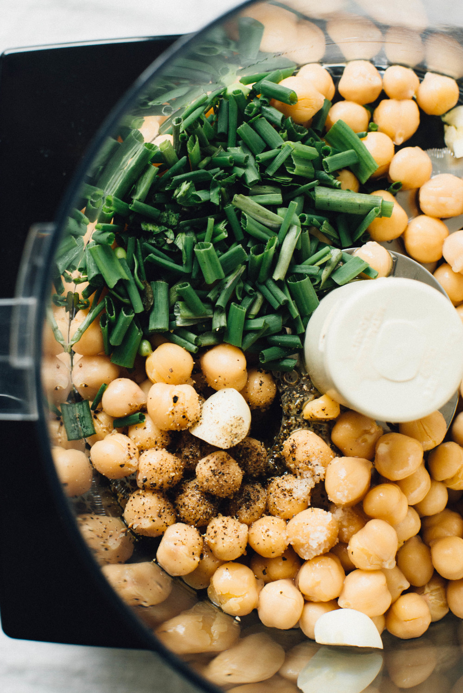 asparagus, pea + broccoli rabe sauté w/ a chive-chickpea mash