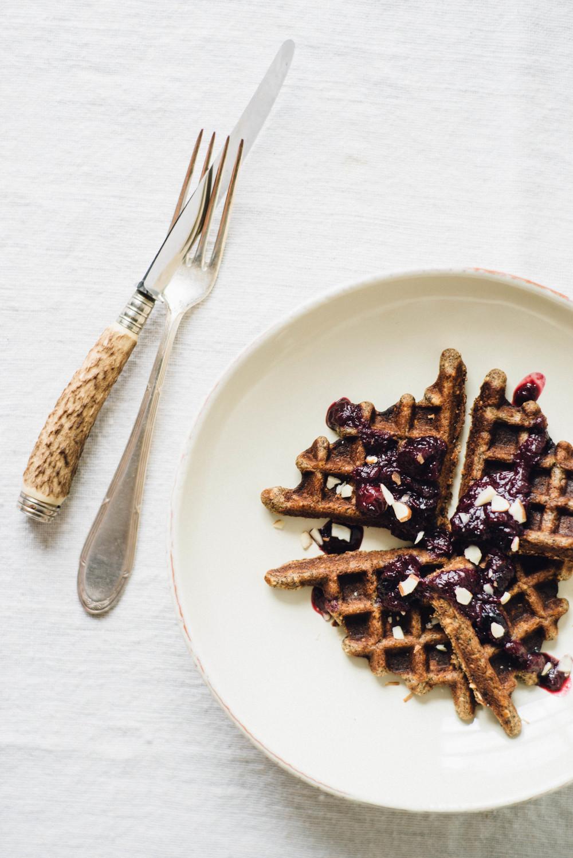 banana buckwheat waffles