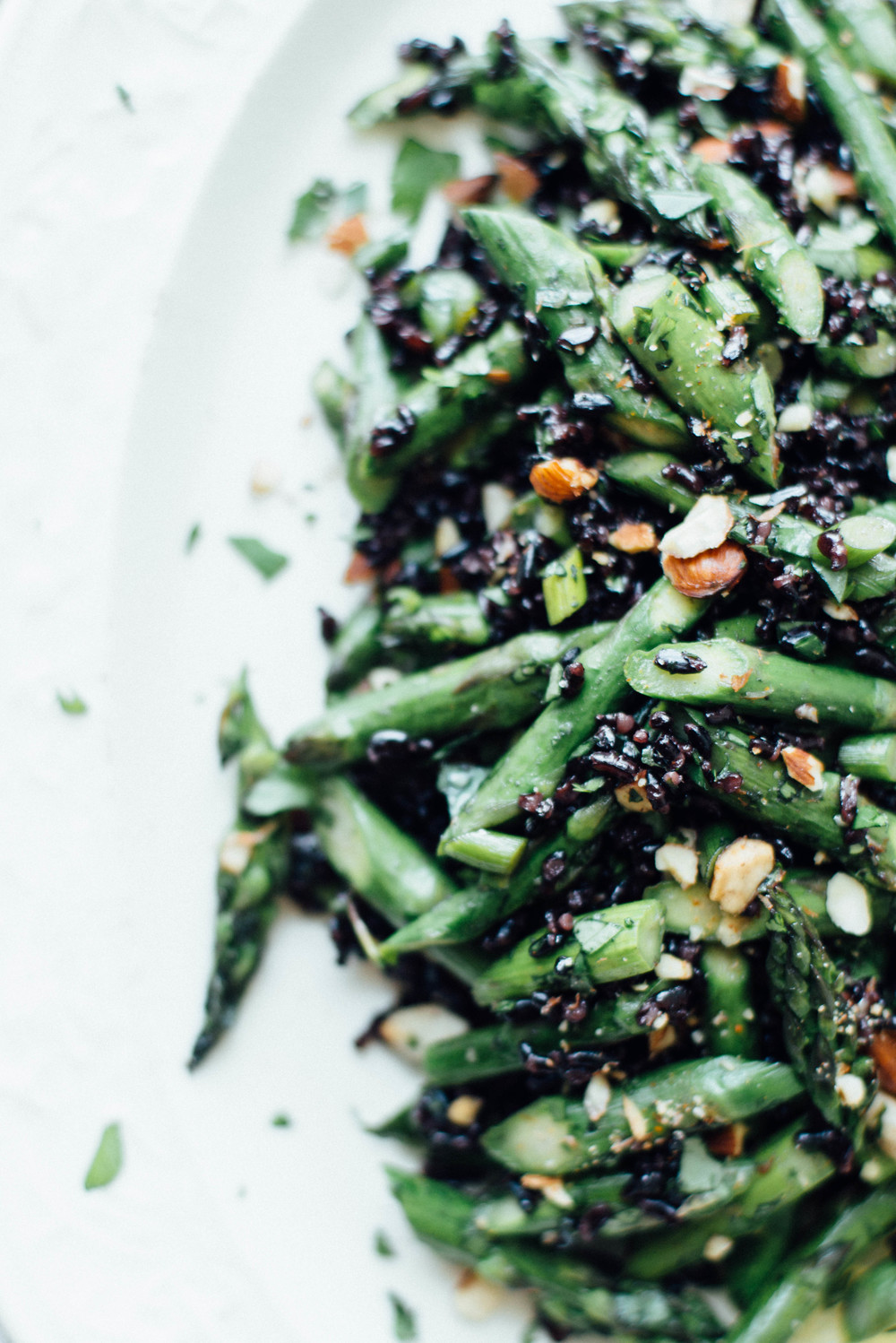 cilantro black rice w/ roasted garlic scapes + asparagus | dolly and oatmeal