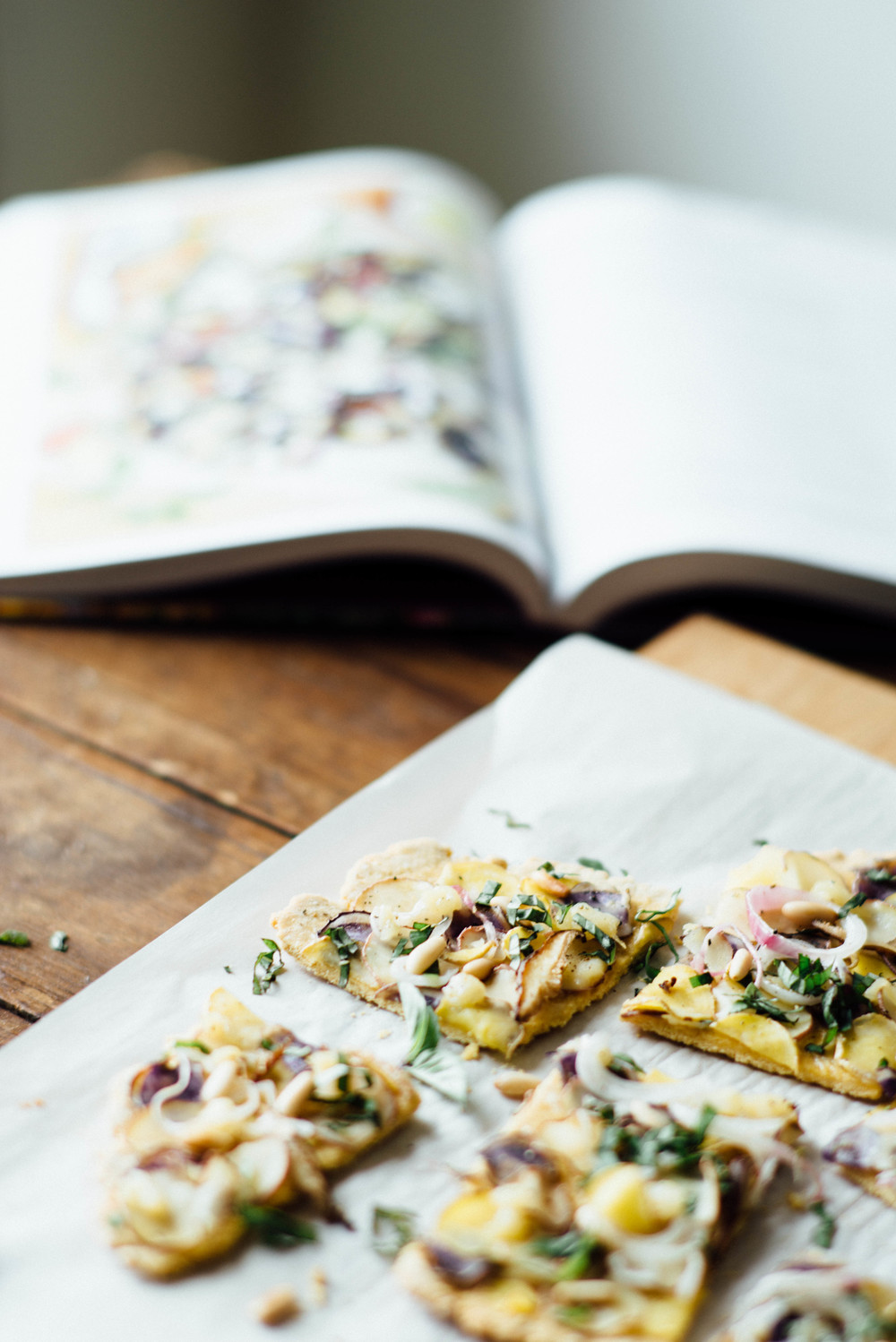 chickpea flour flatbread w/ new potatoes + basil | dolly and oatmeal