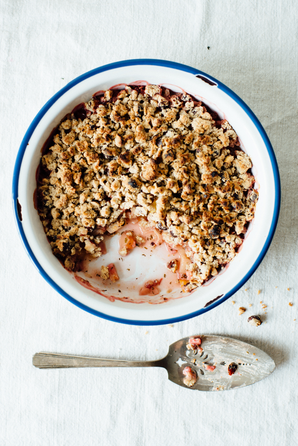 peach, hazelnut + shiso crisp w/ ginger ice cream | dolly and oatmeal