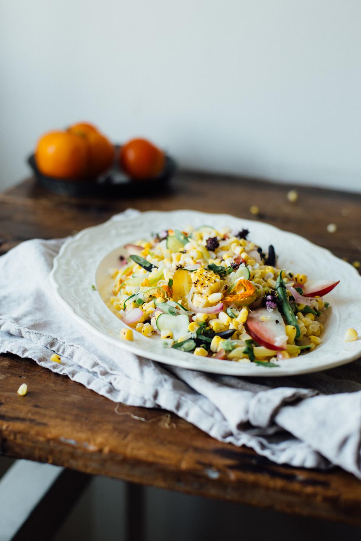 pickled corn succotash salad w/ heirloom beans + white nectarine   dolly and oatmeal