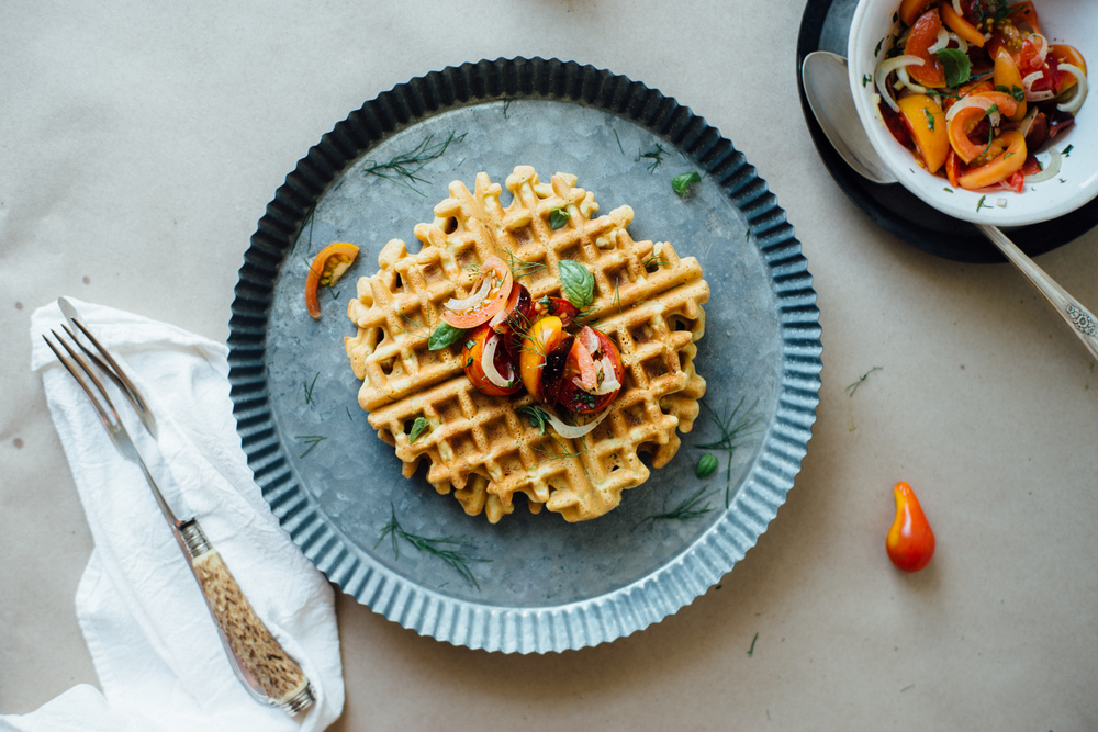 zuccnini chickpea waffles