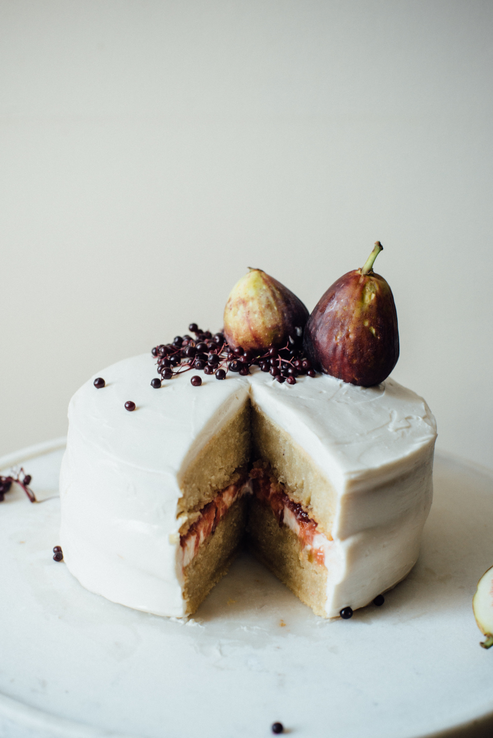 hazelnut layer cake w fig compote vegan cream cheese frosting