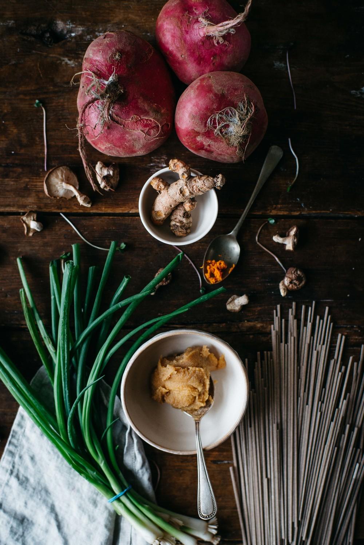 turmeric-miso soup w/ shiitakes, turnips + soba noodles