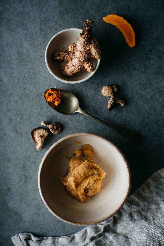 turmeric-miso soup w/ soba + shiitakes | dolly and oatmeal