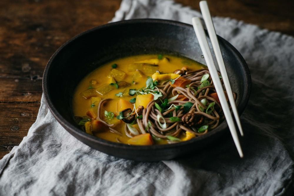 turmeric-miso soup w/ soba, shiitakes + turnips   dolly and oatmeal