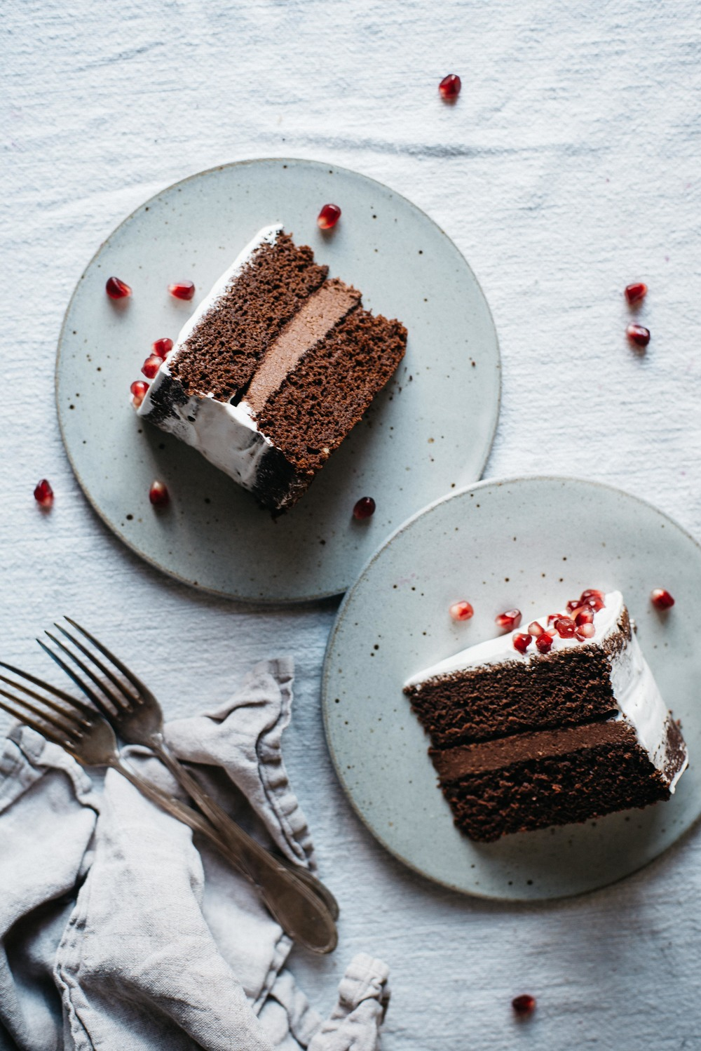 chocolate layer cake w/ cacao macadamia mousse + coconut whip | dolly and oatmeal