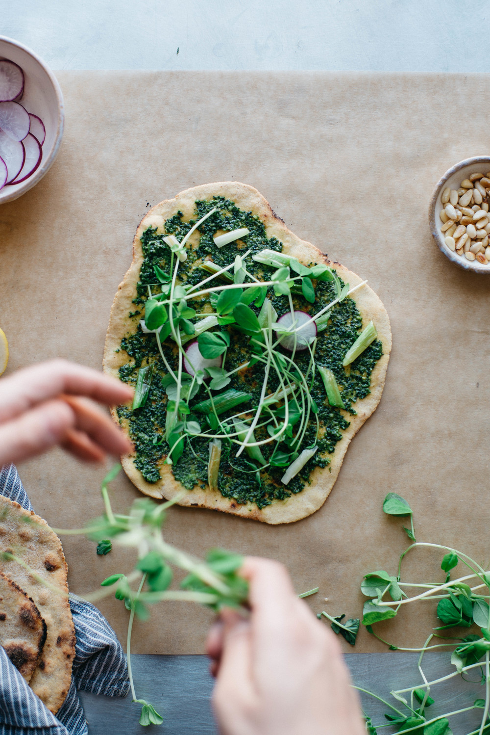 spring onion + pea tendril flatbread | dolly and oatmeal