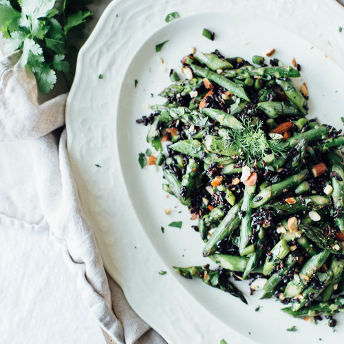 cilantro black rice with garlic scapes + asparagus