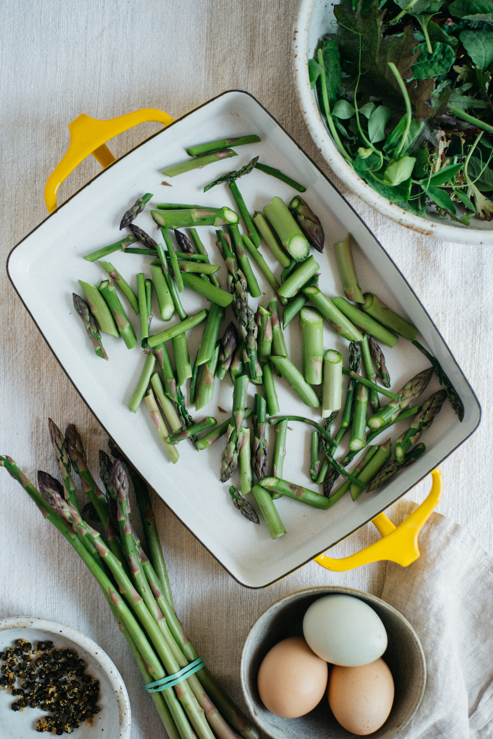 balsamic roasted asparagus salad w/ fried capers + 7 -minute eggs | dolly and oatmeal