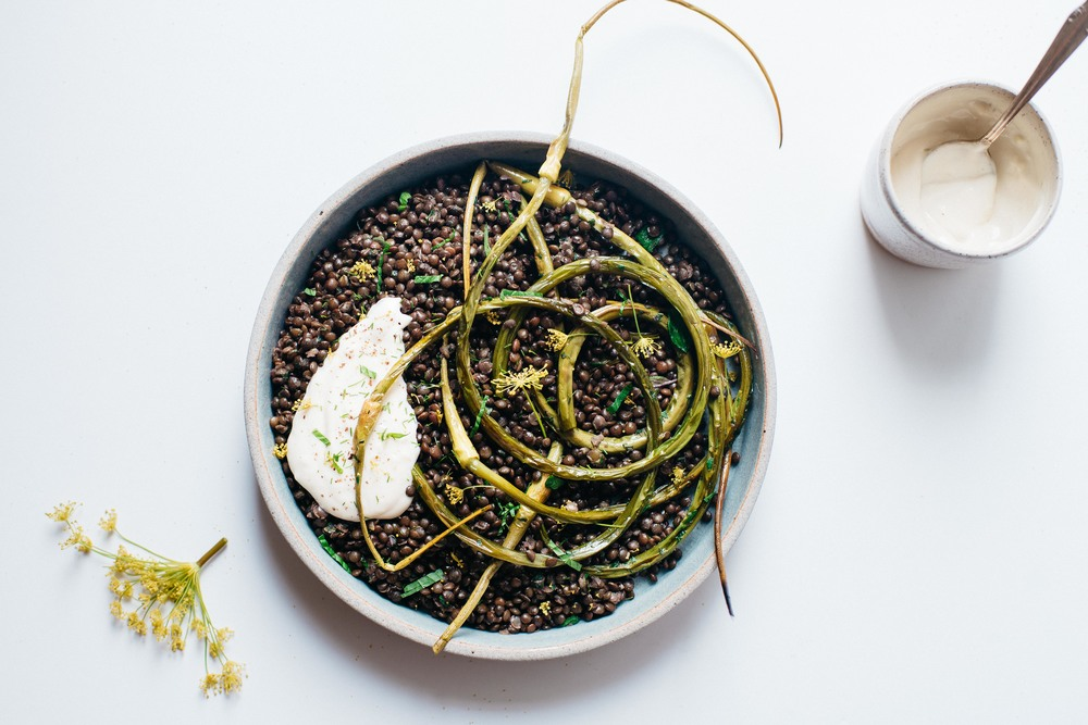 herbed black beluga lentils w/ garlic scapes + yogurt sauce | dolly and oatmeal