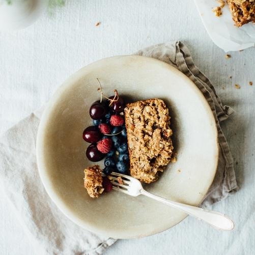 summer squash + banana loaf w/ almond streusel