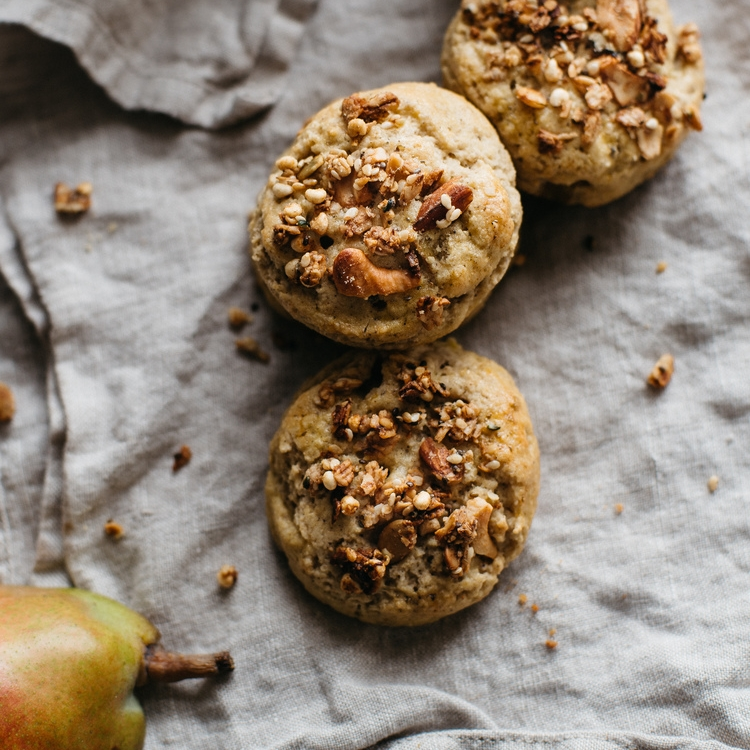 granola + pear scones