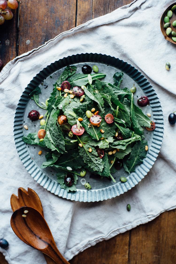 autumn kale + edamame salad w/ sautéed grapes