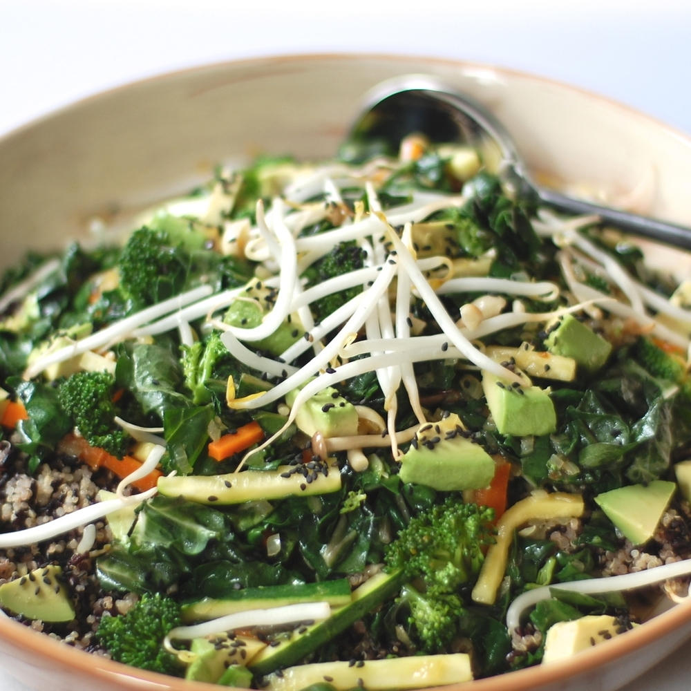 quinoa + black rice veggie bowl