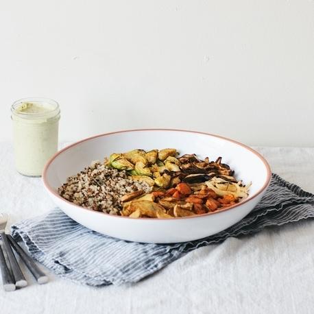 herb roasted veggie bowl w/ green tahini