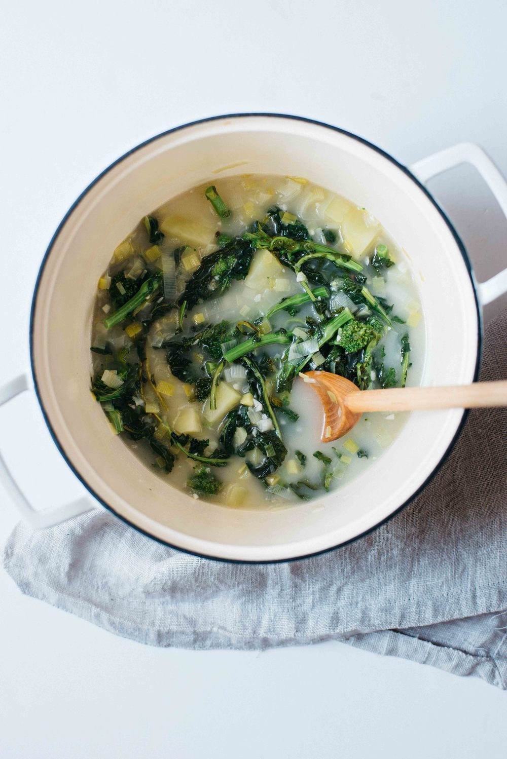 creamy broccoli rabe soup w/ crispy quinoa + yogurt