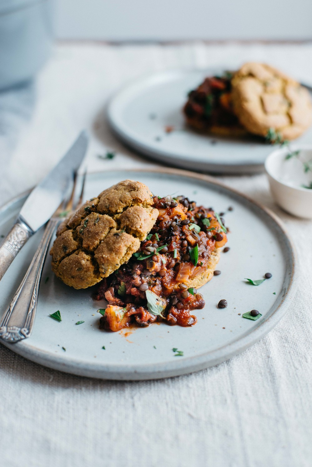 black lentil, sweet potato + kale chili w/ kabocha biscuits (v + gf) | dolly and oatmeal