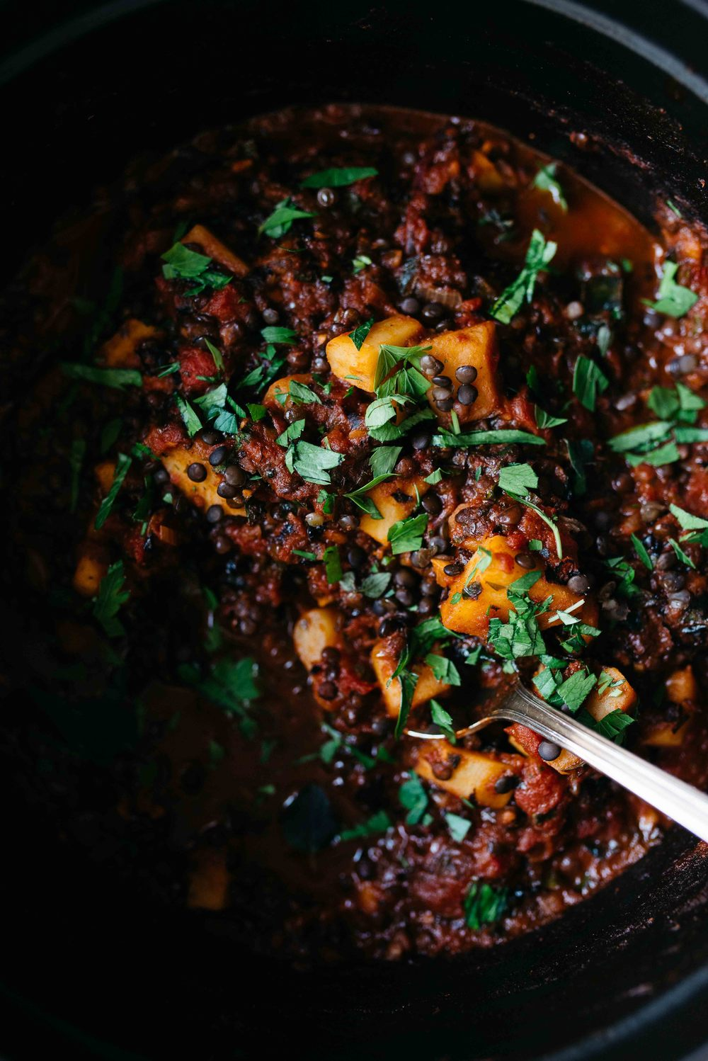 sweet potato, black lentil + kale chili w/ kabocha biscuits | dolly and oatmeal