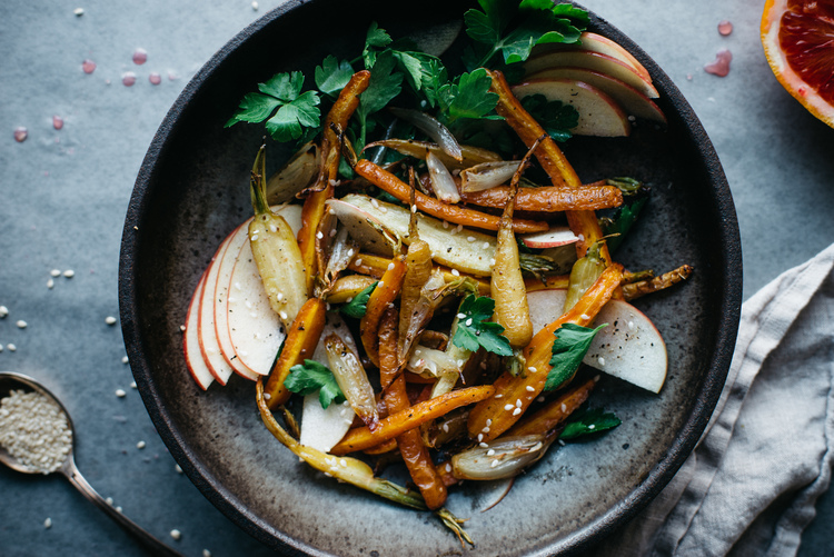 fennel-roasted carrot + shallot salad