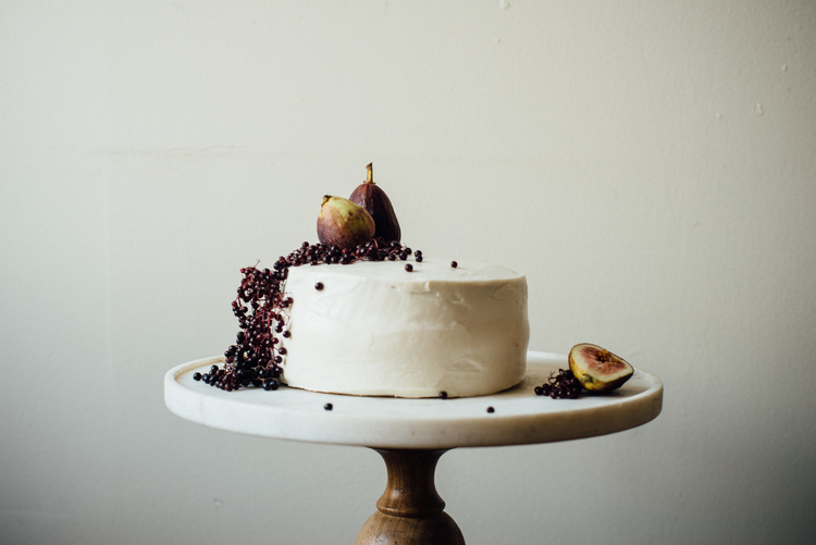 hazelnut layer cake w/ fig compote + cream cheese frosting