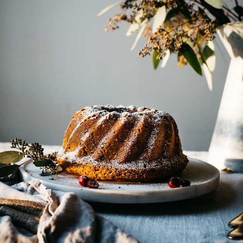 holiday bundt cake w/ crushed cranberries