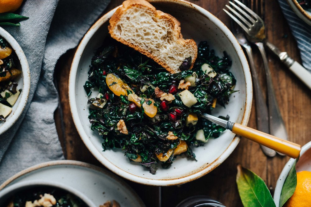 fruity shredded kale salad, for a crowd   dolly and oatmeal