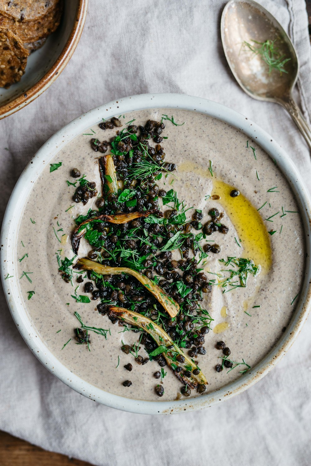 Black beluga lentil hummus w/ roasted fennel + garlic | dolly and oatmeal