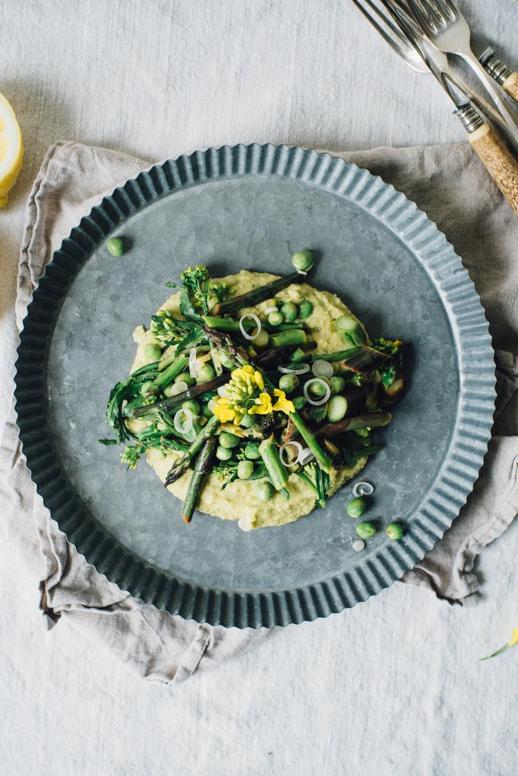 aspragus, pea + broccoli rabe saute over chive + chickpea mash
