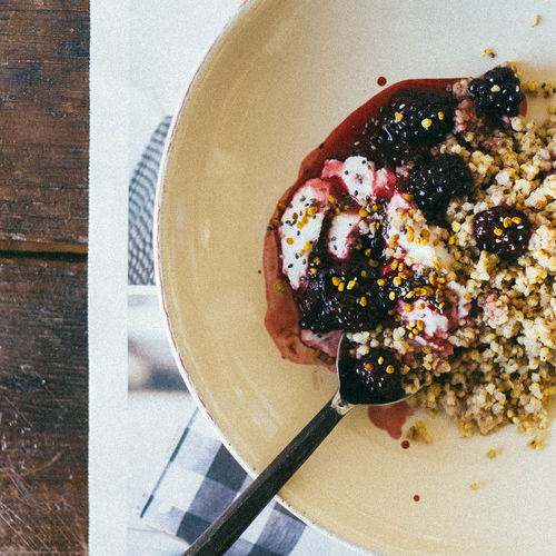 cardamom toasted millet breakfast bowl w/ summer blackberry compote