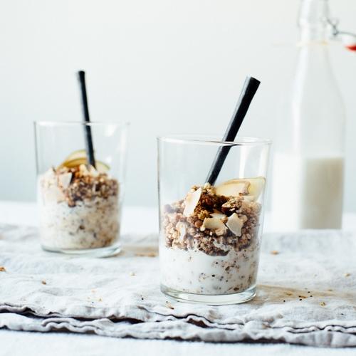 superfood granola w/ homemade almond-macadamia milk