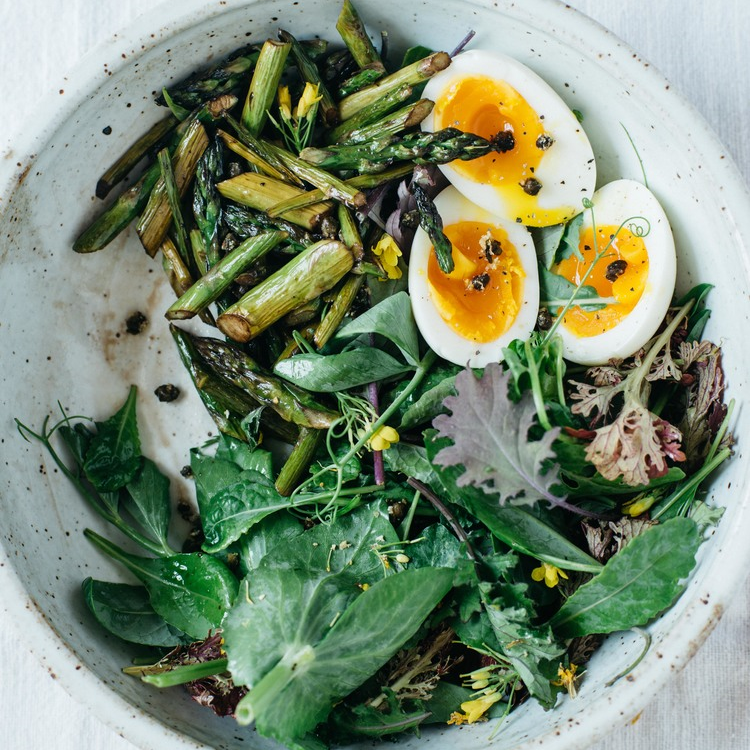 balsamic roasted asparagus salad w/ fried capers + 7-minute eggs