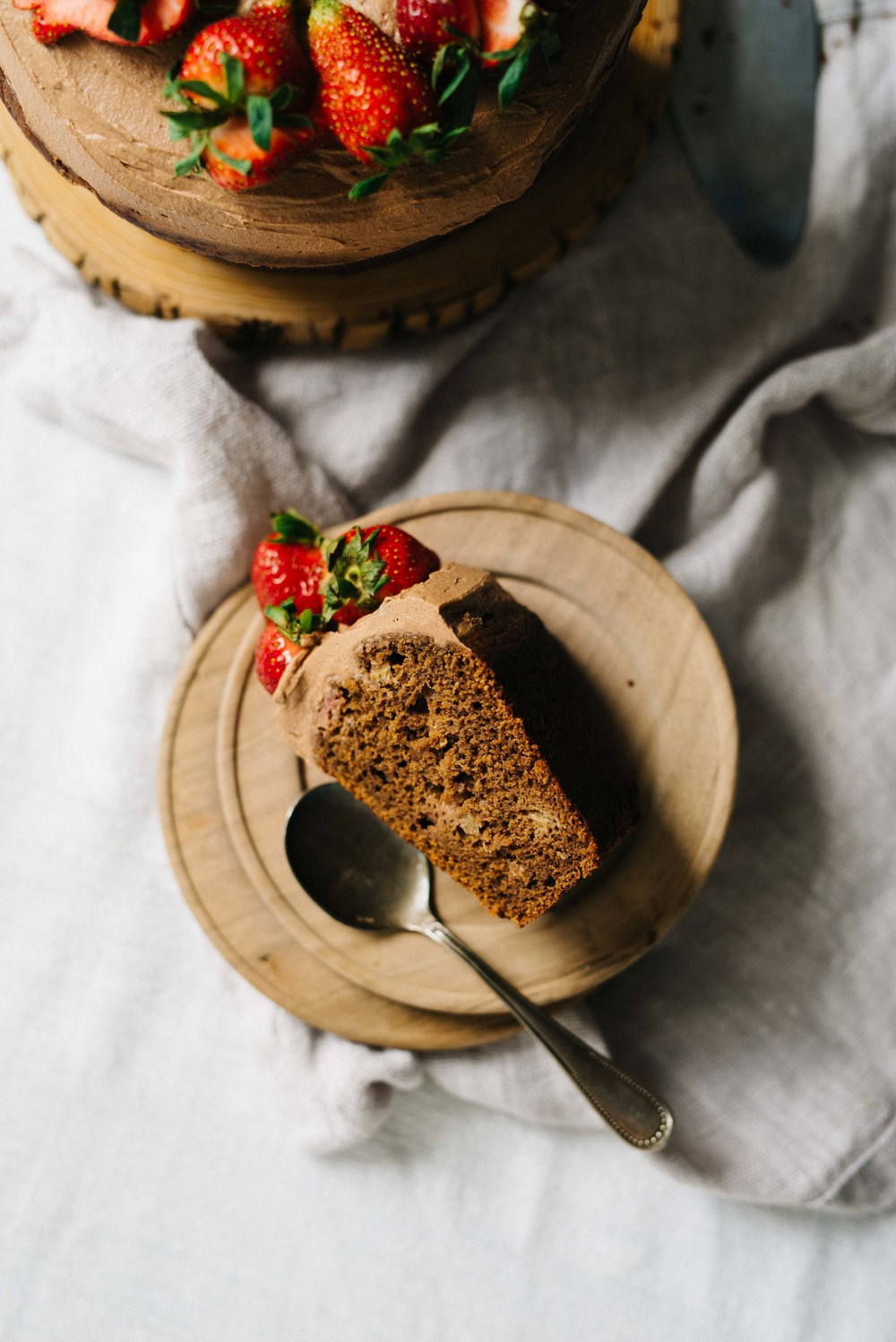 Strawberry-Rhubarb & Olive Oil Chocolate Cake w/ Chocolate Whip  | dolly and oatmeal #glutenfree