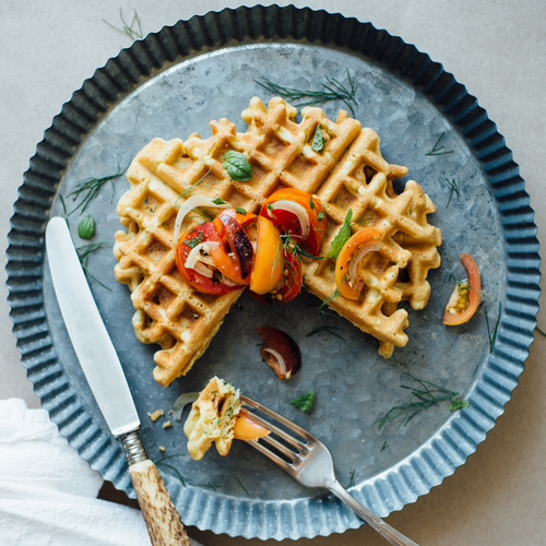 zucchini-basil chickpea waffles w/ tomato & fennel salad