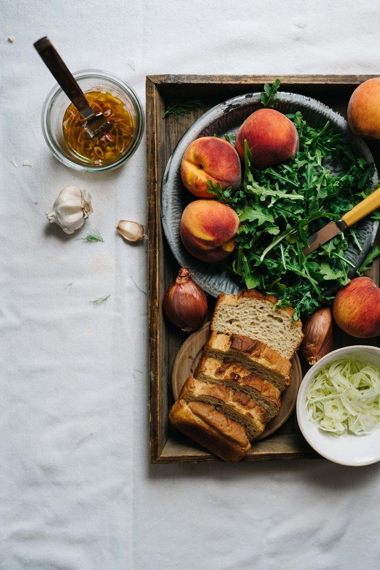 Grilled Panzanella Salad w/ Peaches  Fennel dolly and oatmeal