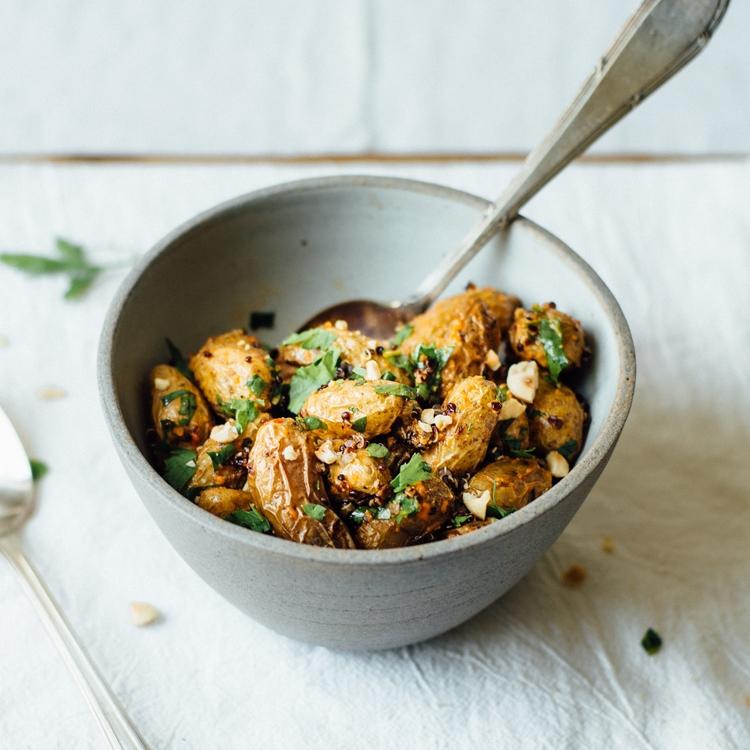 roasted fingerling potato salad w/ romesco & herby black quinoa