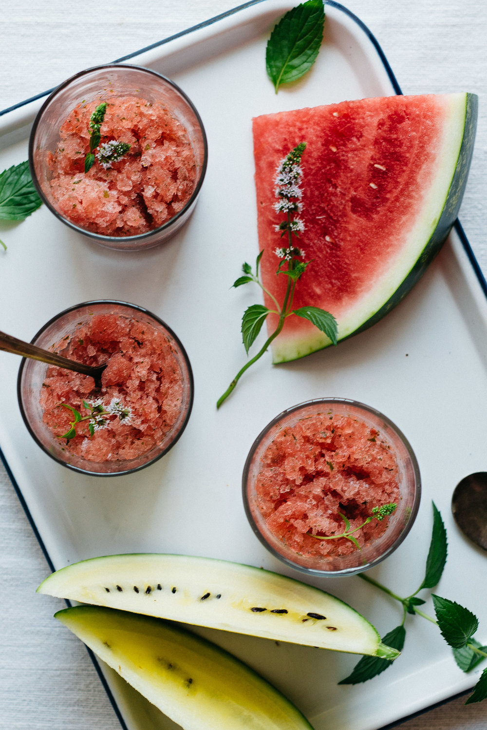 Cilantro-Watermelon Granita w/ Mint | dolly and oatmeal